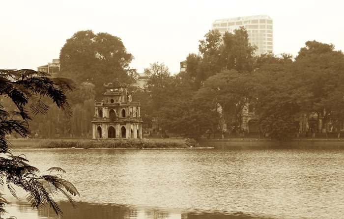 Turtle tower in Hanoi old street