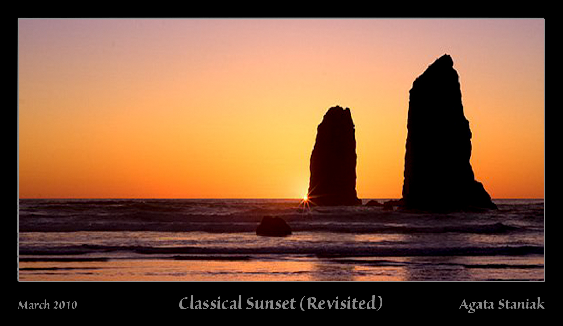 Classical sunset - Cannon Beach, OR.