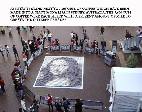 Picture of Mona Lisa created with cups of coffee