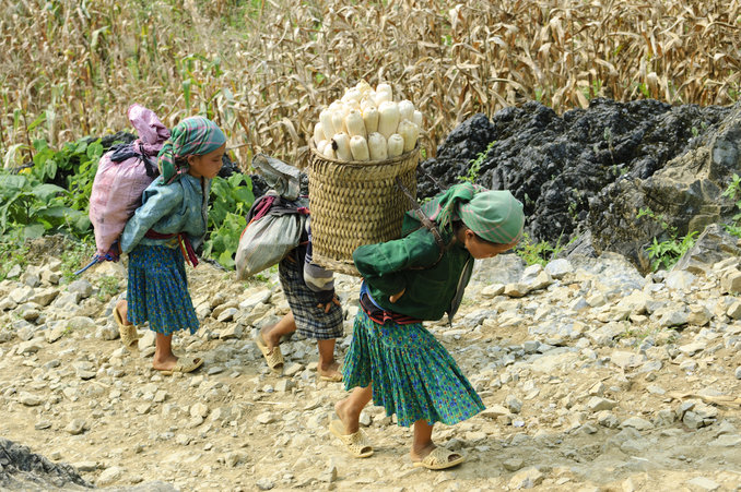 daily activities of children ethnic minorities in Ha Giang Vietnam
